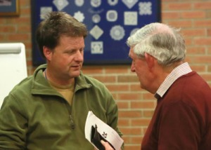 Steve Whitehead talks to Roland Edwards at the April meeting.