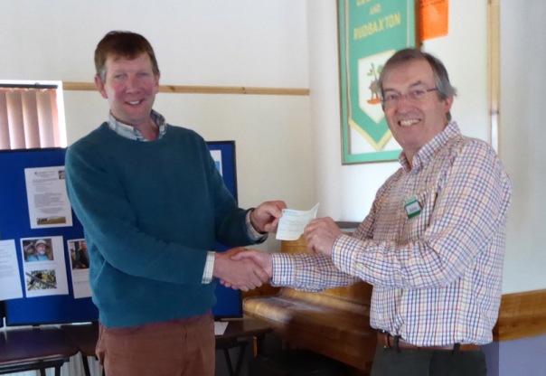 Presentation of cheque to Jonathan Hughes 800